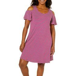 Cupio Womens Stripe Cold Shoulder Dress