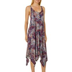 Spense Womens Paisley Print Handkerchief Hem Dress