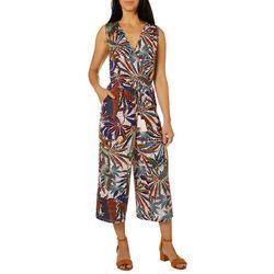 Spense Womens Palm Leaf Print Faux Wrap V-Neck Jumpsuit