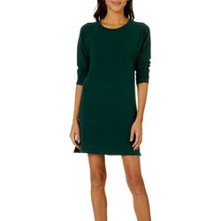 CG Sport Womens Solid Terry Long Sleeve T-Shirt Dress