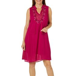 Cupio Womens Embroidered Neckline Dress