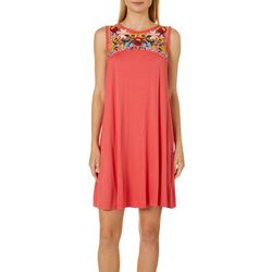 Spense Womens Floral Embroidered Swing Dress