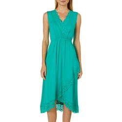 Spense Womens Solid Eyelet Trim Wrap Dress