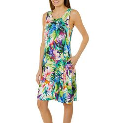 Cupio Womens Tropical Floral Sleeveless Pocket Sundress