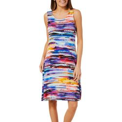 Cupio Womens Watercolor Stripes Sleeveless Sundress