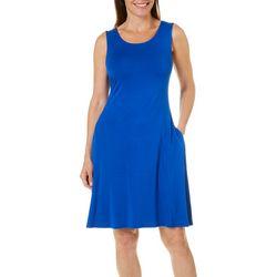 Cupio Womens Solid Sleeveless Pocket Sundress