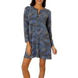 CG Sport Womens Camo Print Zip Placket Hacci T-Shirt Dress