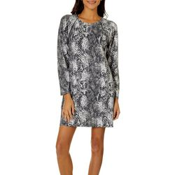CG Sport Womens Snake Print Terry Long Sleeve T-Shirt Dress