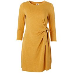 CG Sport Womens Solid Side Tie Round Neck Dress