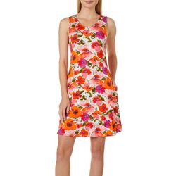Cupio Womens Poppy Flower Sleeveless Pocket Sundress