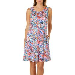 Cupio Womens Paisley Print Sleeveless Sundress