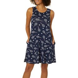 Cupio Womens Tennis Print Pocket Sleeveless Swing Dress