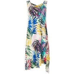 Cupio Womens Sleeveless Tropical Palm Leaf Print Sundress