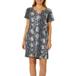CG Sport Womens Snakeskin Print V-Neck Shift Dress