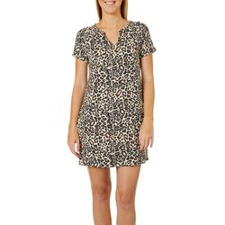 CG Sport Womens Leopard Print Terry T-Shirt Dress