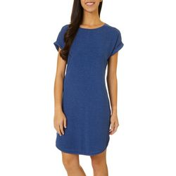 CG Sport Womens Cap Sleeve Heathered T-Shirt Dress