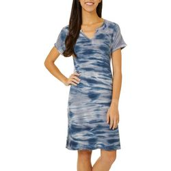 CG Sport Womens Tie Dye Split Neck T-Shirt Dress