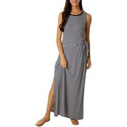 Womens Stripe Side Tie Maxi Dress