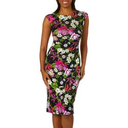 Spense Womens Floral Print Cap Sleeve Sheath Dress