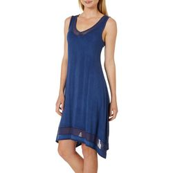 CG Sport Womens Solid Mineral Wash Mesh Detail V-Neck Dress