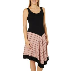 Spense Womens Striped Asymmetrical Hem Sleeveless Dress