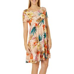 Spense Womens Tropical Floral Print Swing Dress