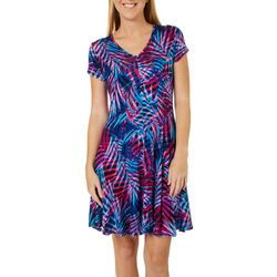 Spense Womens Tropical Palm Print V-Neck T-Shirt Dress