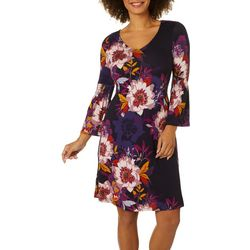 Spense Womens Floral Print Bell Sleeve Dress