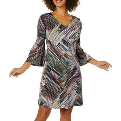 Spense Womens Abstract Geometric Print Bell Sleeve Dress