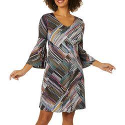 Spense Womens Abstract Geometric Print Bell Sleeve Dress