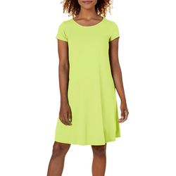 Cupio Womens Short Sleeve Juliana Crepe Swing Dress