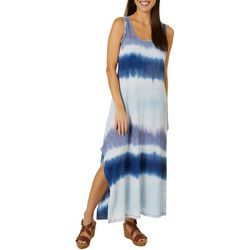 Cupio Womens Sleeveless Hanky Tie Dye Maxi Dress