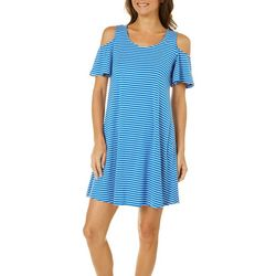 Cupio Womens Stripe Cold Shoulder Dress