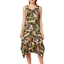 Cupio Womens Tropical Palm Leaf Sundress