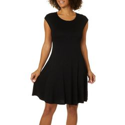 Spense Womens Solid Cap Sleeve Swing Dress