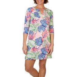 Caribbean Joe Womens Multi Floral Beach Dress