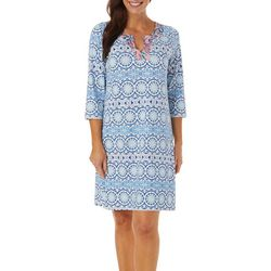 Caribbean Joe Womens Medallion Print Split Neck Dress