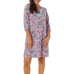 Caribbean Joe Womens Paisley Print Split Neck Dress