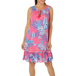 Caribbean Joe Womens Tropical Leaf Tassel Tie Dress