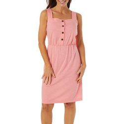 Womens Solid Button Placket Dress