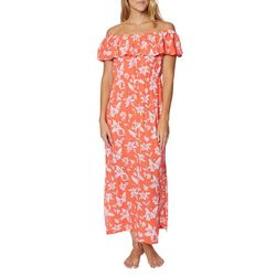 Caribbean Joe Womens Floral Off The Shoulder Maxi Dress