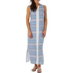 Caribbean Joe Womens Sleeveless Medallion Challis Maxi Dress