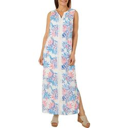 Caribbean Joe Womens Sleeveless Tropical Challis Maxi Dress