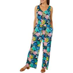 Caribbean Joe Womens Sleeveless Tropical Jumpsuit