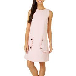 Betsey Johnson Womens Sleeveless Ruffle Pocket Dress