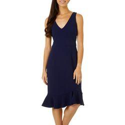 Betsey Johnson Womens Sleeveless V-Neck Ruffle Dress