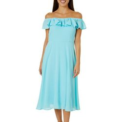 Betsey Johnson  Womens  Off The Shoulder Flounce Dress