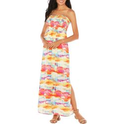 Caribbean Joe Womens Smocked Off The Shoulder Maxi Dress