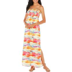Womens Smocked Off The Shoulder Maxi Dress