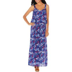 Caribbean Joe Womens Palm Leaf Layer Maxi Dress